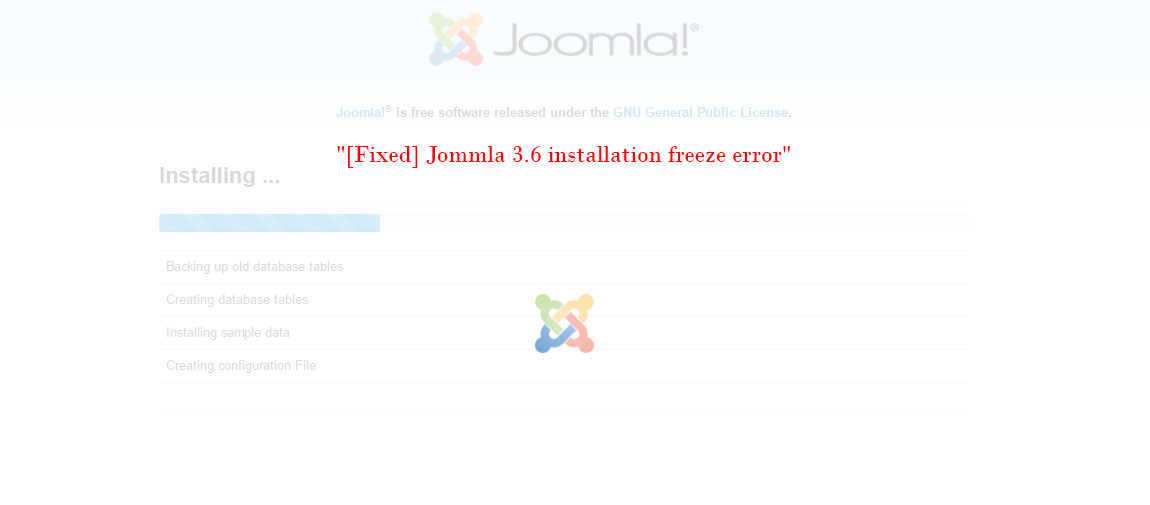 installation freeze error in joomla